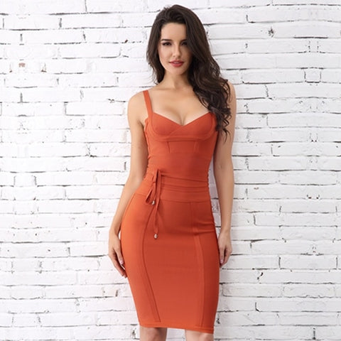 Red Spaghetti Strap Bodycon Bandage Dress- Available in more colors