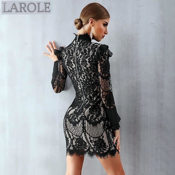 Black Long Sleeve Mini Lace Dress