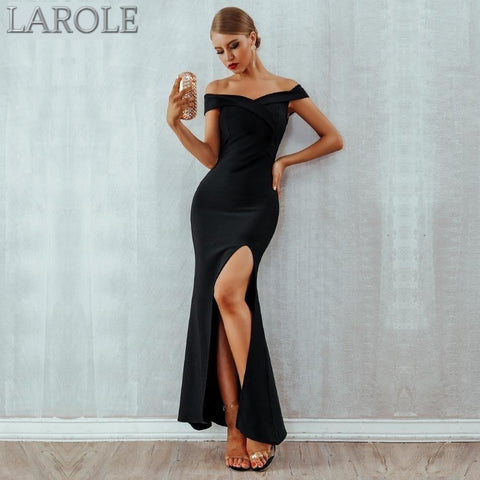 Elegant Off Shoulder Celebrity Runway  Long Maxi Bandage Dress  with Split - Available in Black and Red