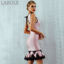Load image into Gallery viewer, Light Pink Lace Up Backless Mermaid O-Neck Tank Dress
