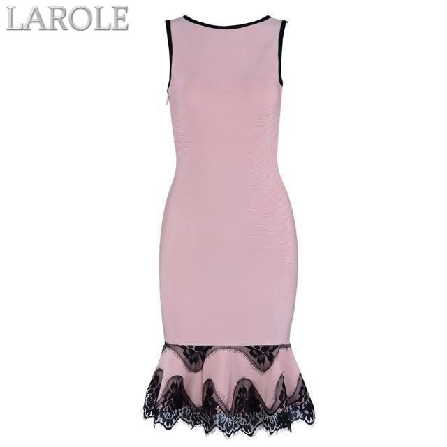 Light Pink Lace Up Backless Mermaid O-Neck Tank Dress