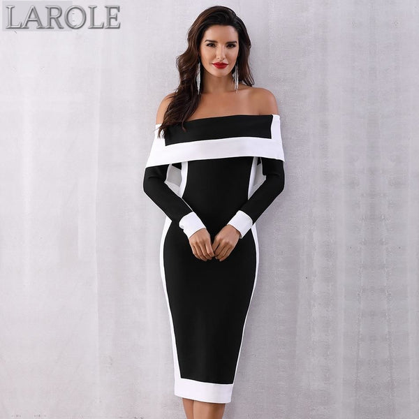 Long Sleeve Off Shoulder Midi Bandage Bodycon Dress