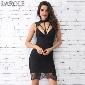 New Sexy Sleeveless Hollow Out Midi Lace Tank Club Celebrity Party Dresses