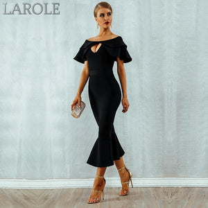Cut Out Black Sexy Mermaid Midi Bandage Cocktail Dress