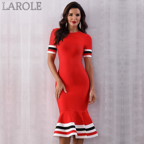 Red Mermaid Bandage Midi Dress With Sexy Short Sleeve