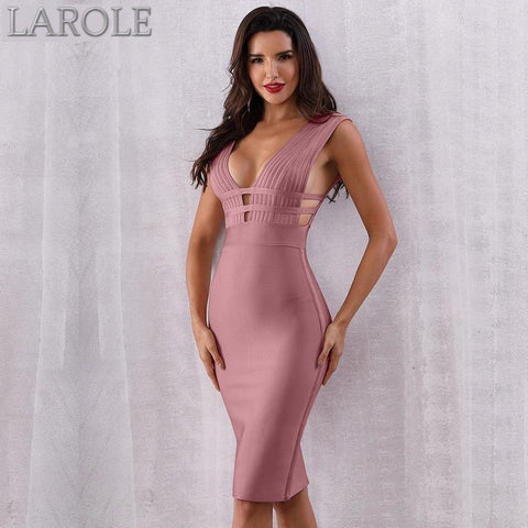 Pink Tank Sexy Deep V-Neck Sleeveless Bodycon Club Celebrity Party Dresses - More Colors Option Available!
