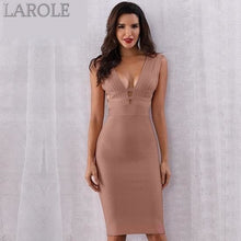 Load image into Gallery viewer, Khaki Tank Sexy Deep V-Neck Sleeveless Bodycon Club Celebrity Party Dresses - More Colors Option Available!