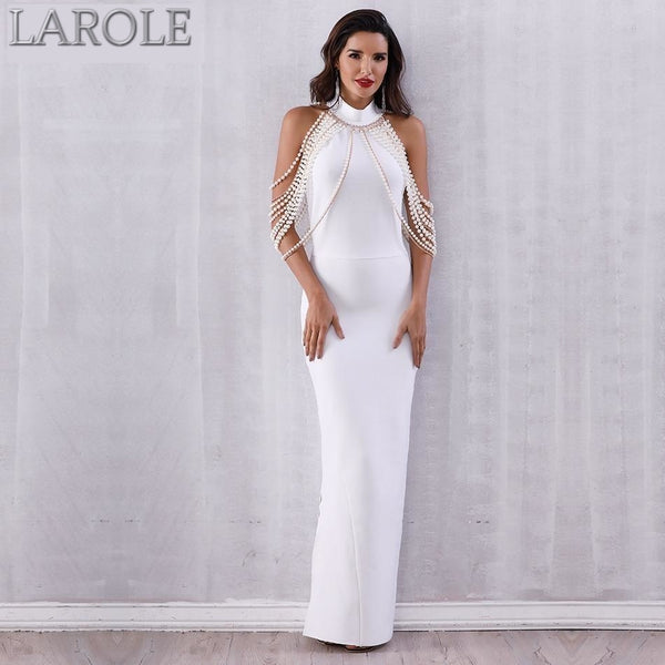 Elegant Long Pearls Chain Bead Backless  Evening Maxi Dress