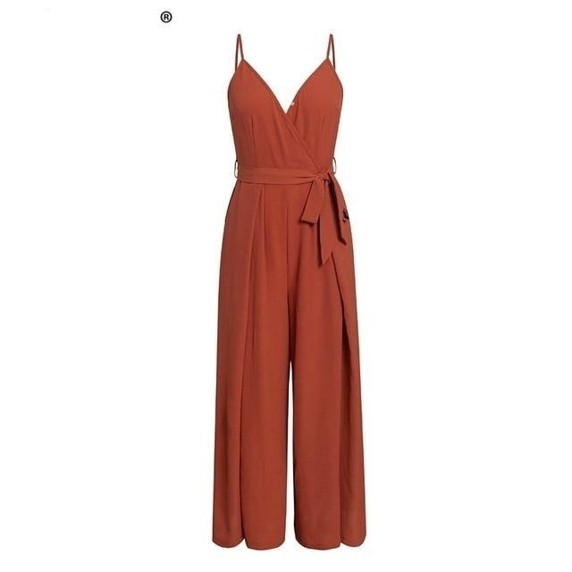 Simplee  floral print jumpsuits women V neck split spaghetti strap long overalls