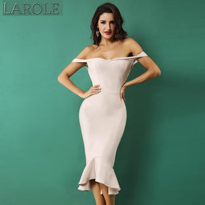 Apricot Slash Neck Elegant Mermaid Style Cocktail Bandage Dress - Available in More Colors