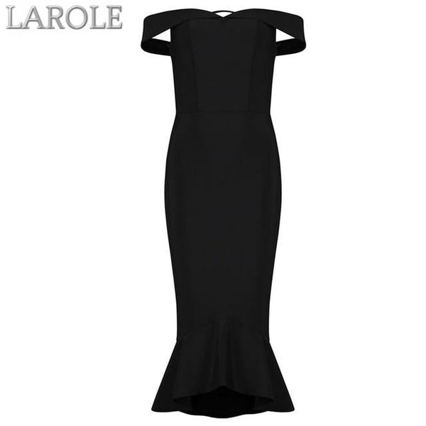 Slash Neck Elegant Mermaid Style Black Cocktail Bandage Dress - Available in More Colors