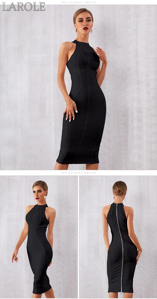 Elegant Tank Sexy Sleeveless Bodycon Black Midi Dress - More Colors Option Available!