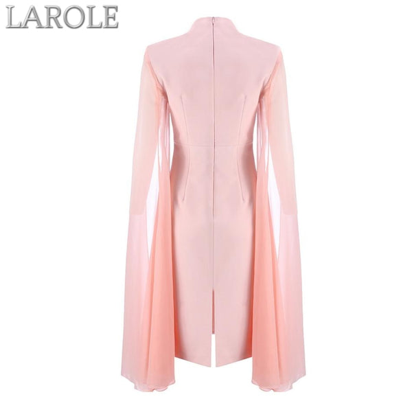 Pink O-Neck Batwing Sleeve Midi Luxury Celebrity Party Club Dresses