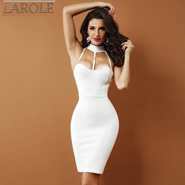 Sleeveless Halter Hollow Out  Evening Party WhiteDresses  - Available in more colors