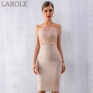 Sexy Long Sleeve Off Shoulder Lace Bandage Dress