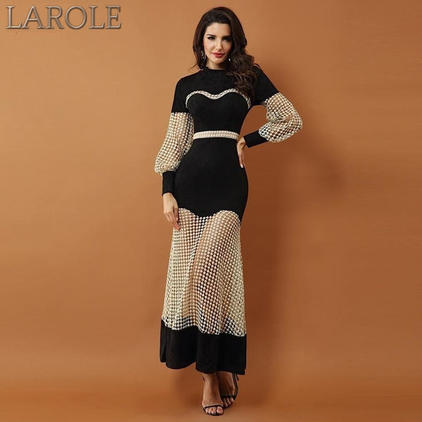 New Luxury  Black and Gold Maxi Gown with Long Sleeves, Lace Hollow Out Mesh