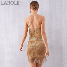 Load image into Gallery viewer, Sexy V Neck Sequin Tassels Fringe Club Dress