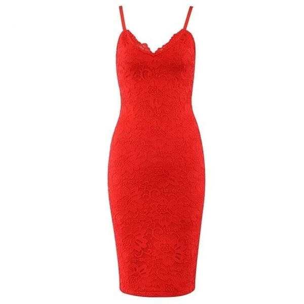 Red Spaghetti Strap Bodycon Midi Lace Cocktail Dress