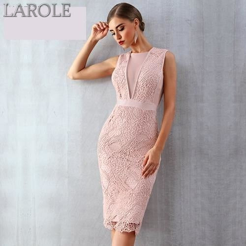 Tank Sexy Lace Mesh Sleeveless Bodycon Midi Dress for Cocktail- Available in multiple colors
