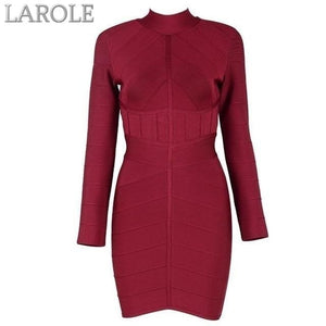 Red Long Sleeve Mini Club Dress Vestidos Celebrity Evening Party Dresses-  More Colors Available