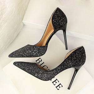 Sequins Scarping wedding Party Pumps