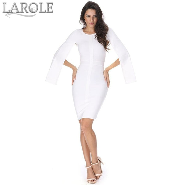 O-Neck Batwing Sleeve White Bandage Dresses