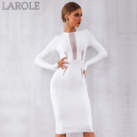 See Through Sexy Long Sleeve Elegant White Evening Party Dress