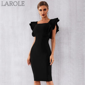 Sexy Black Ruffles Butterfly Sleeve Bodycon Club Dress