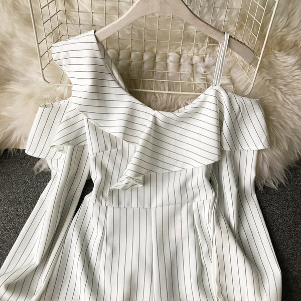 Long Sleeve Off Shoulder White  Striped  Summer  Rompers- More Colors Are Available