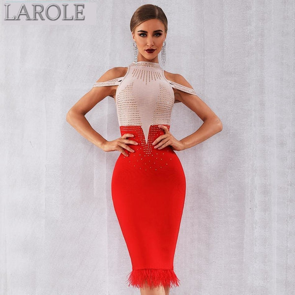 Elegant  Off Shoulder Sexy Feather Red Bodycon Beaded Dress