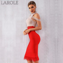 Load image into Gallery viewer, Elegant  Off Shoulder Sexy Feather Red Bodycon Beaded Dress