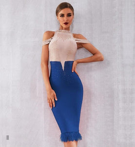 Elegant  Off Shoulder Sexy Feather Blue Bodycon Beaded Dress