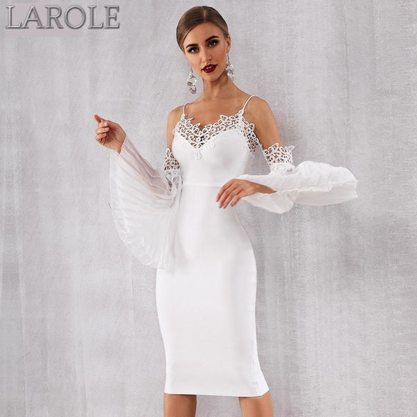 New Summer White  Bandage Dress with  lace Flare Sleeve