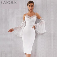 Load image into Gallery viewer, New Summer White  Bandage Dress with  lace Flare Sleeve
