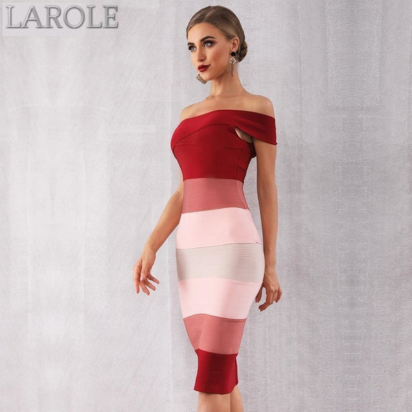 Sexy One Shoulder Sleeveless Red Colorblock Midi Evening Party Dresses