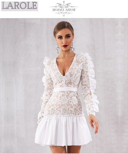 V Neck Long Sleeve Mini Lace Ruffles White  Party Dresses