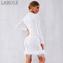Load image into Gallery viewer, White Elegant Sequins Feather Runway Club Dress with Long Sleeve