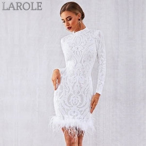 White Elegant Sequins Feather Runway Club Dress with Long Sleeve