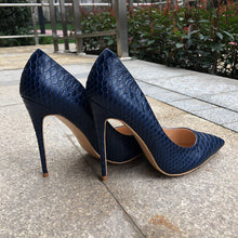 Load image into Gallery viewer, Snake Skin Embossed Italian Style Navy Blue  High Heel Pumps