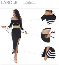 Load image into Gallery viewer, Runway Two Piece Set  Midi Evening Party Bandage Dresses in White and Black