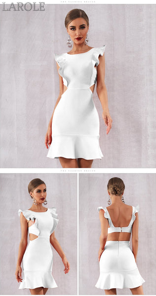 Sexy White Ruffles Mini Club Party Dress - More Colors Are Available
