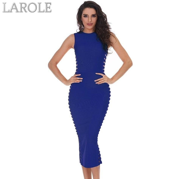 O-Neck Hollow Out Blue Midi Cocktail Dress - More Colors Are Available