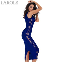 Load image into Gallery viewer, O-Neck Hollow Out Blue Midi Cocktail Dress - More Colors Are Available