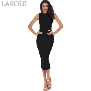 O-Neck Hollow Out Black Midi Cocktail Dress - More Colors Are Available