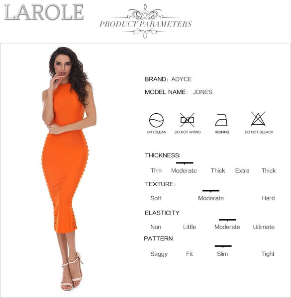 O-Neck Hollow Out Orange Midi Cocktail Dress - More Colors Are Available