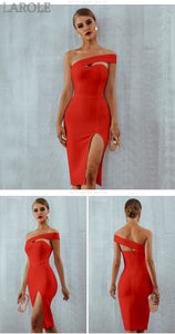 Summer Sexy Elegant One Shoulder Front Slit Midi Celebrity Party Dresses - More Colors Are Available