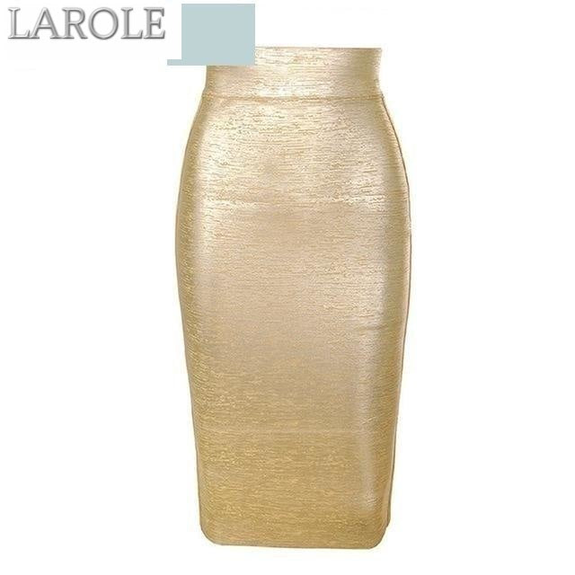 Mid-Calf Gold  Pencil Bandage Skirts