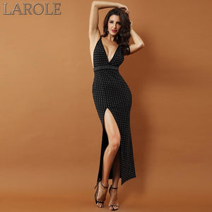 Black Beaded Sleeveless Sexy Backless Side Split Spaghetti Strap Dress