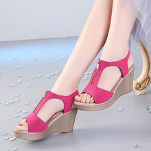 Load image into Gallery viewer, Gladiator platform wedge sandals with zipper - More colors available