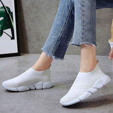 Load image into Gallery viewer, Breathable Slip On Flat Shoes Soft Bottom White Casual Women Flats Sneakers
